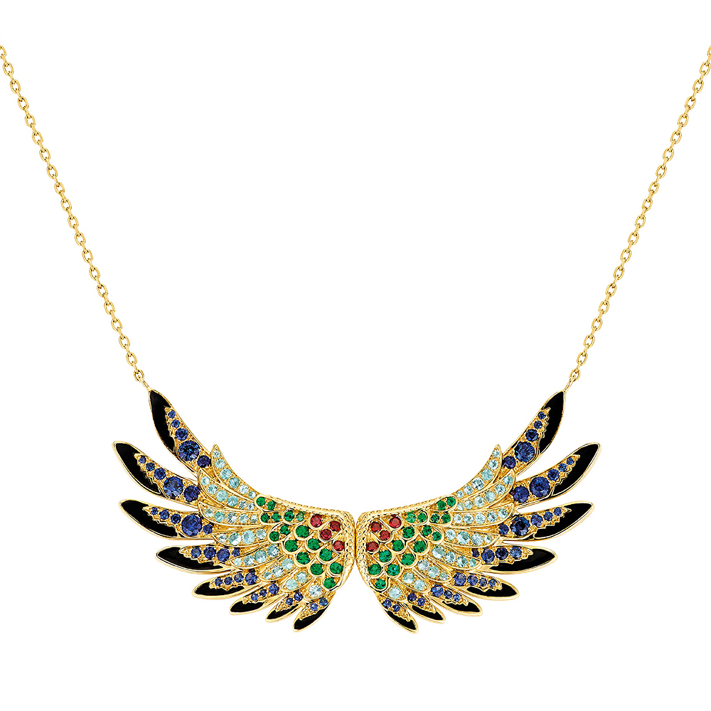 Perroquet Pendant | Blues sapphires, emeralds, orange sapphires, Paraiba tourmalines, yellow gold | Lalique fine jewellery