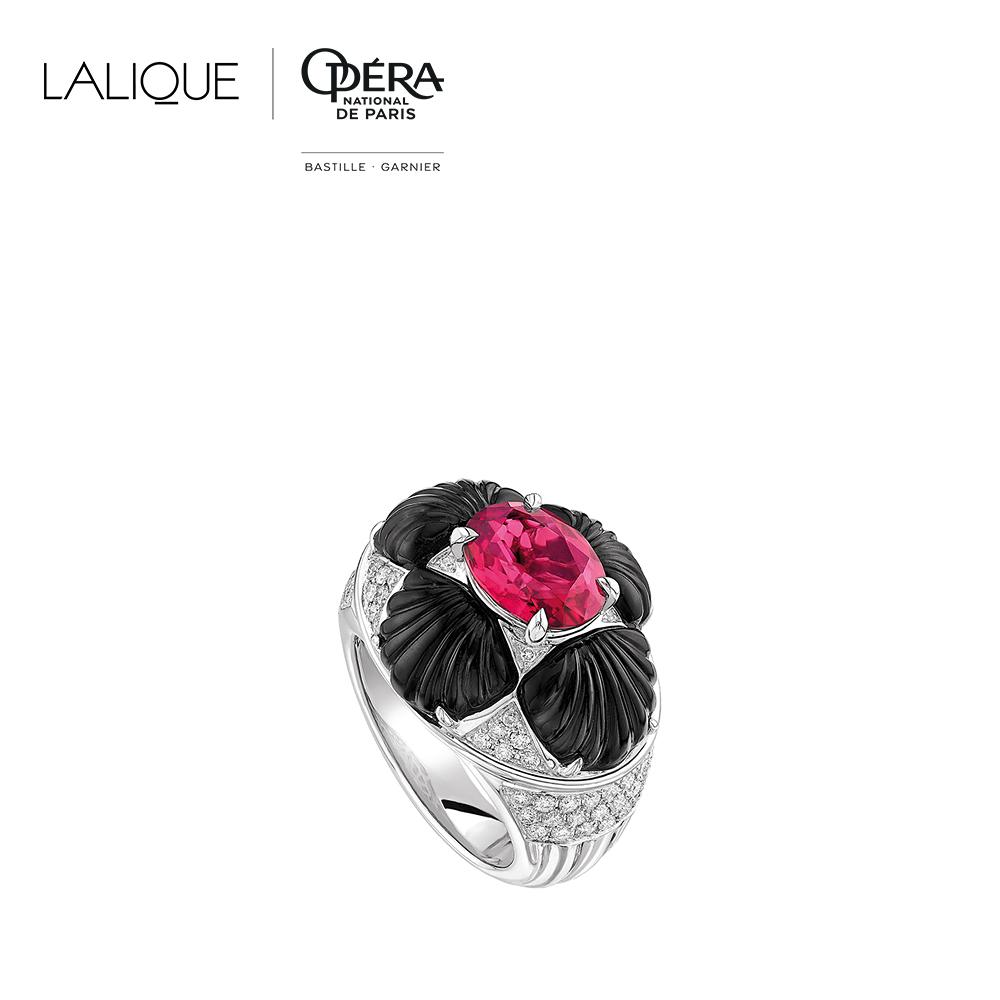 Adrienne ring   Diamonds, rubellite, onyx, white gold   Lalique fine jewellery
