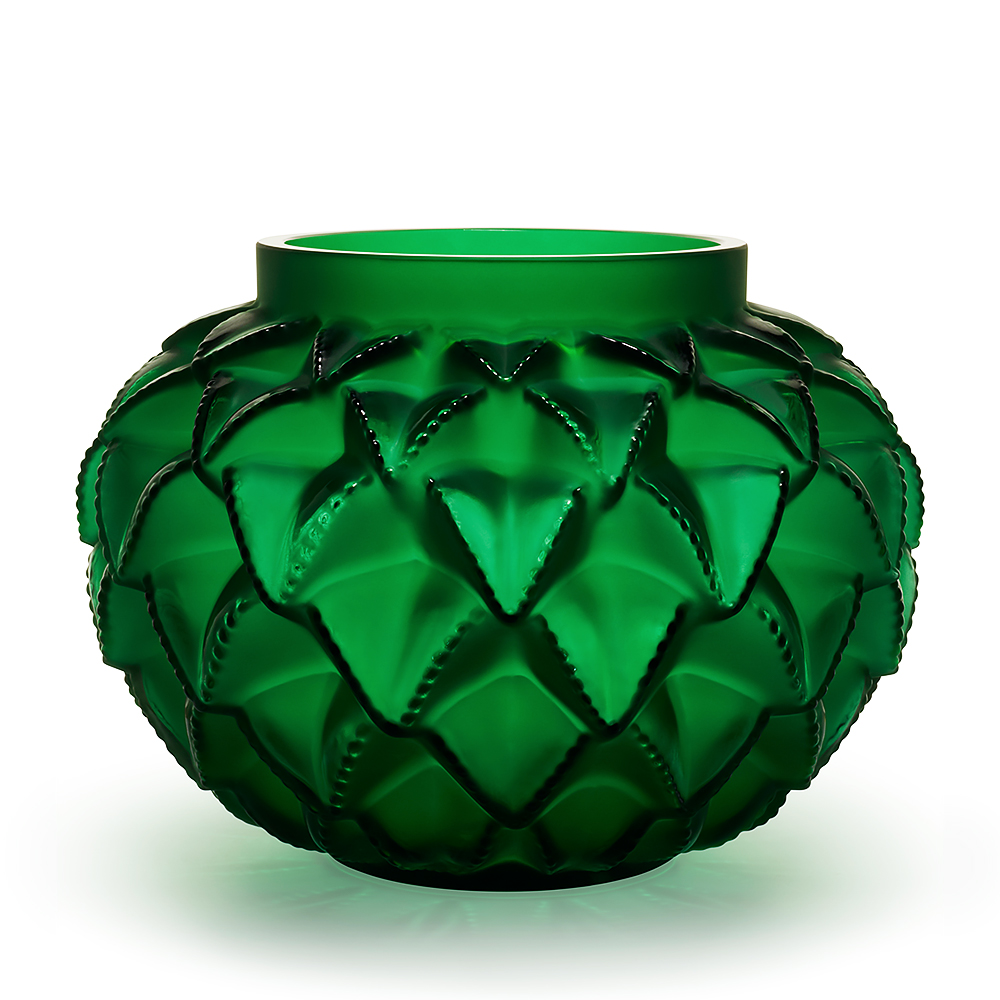 Languedoc grand vase | Numbered edition, green crystal | Lalique crystal vase