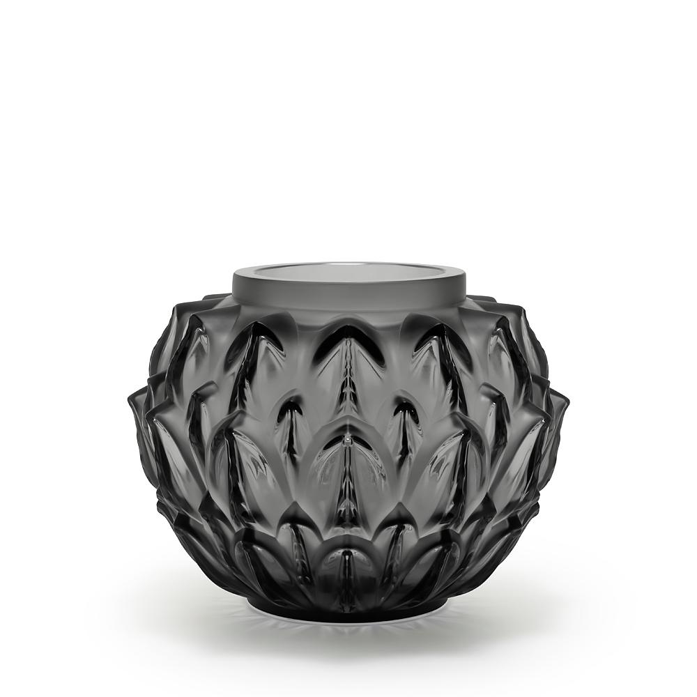 Cynara vase | Grey crystal | Lalique crystal vase