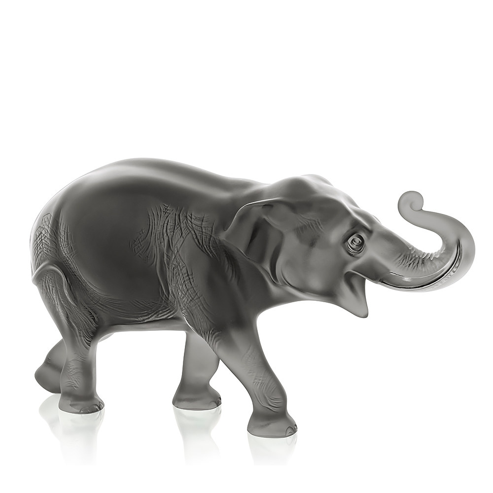 Sumatra elephant sculpture   Limited edition of 288 pieces, grey crystal   Lalique crystal sculpture