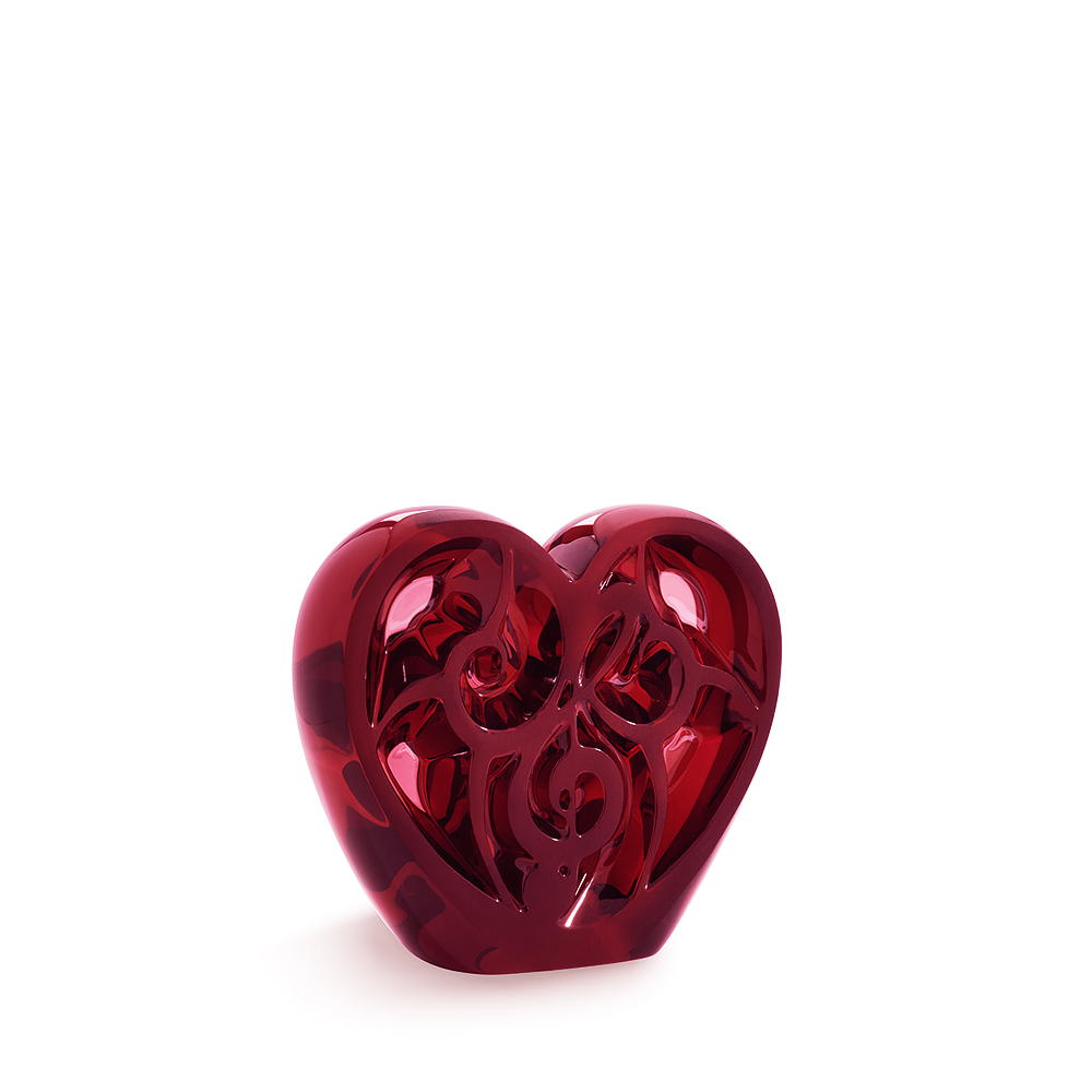 ELTON JOHN MUSIC IS LOVE FOR LALIQUE | MUSIC IS LOVE Heart sculpture | Limited edition of 499 pieces, red crystal | Lalique crystal sculpture