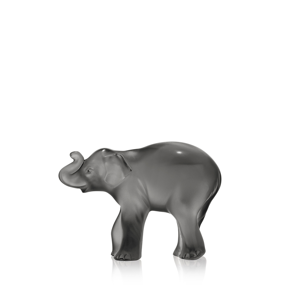 Timora Baby Elephant sculpture | Grey crystal | Lalique crystal sculpture