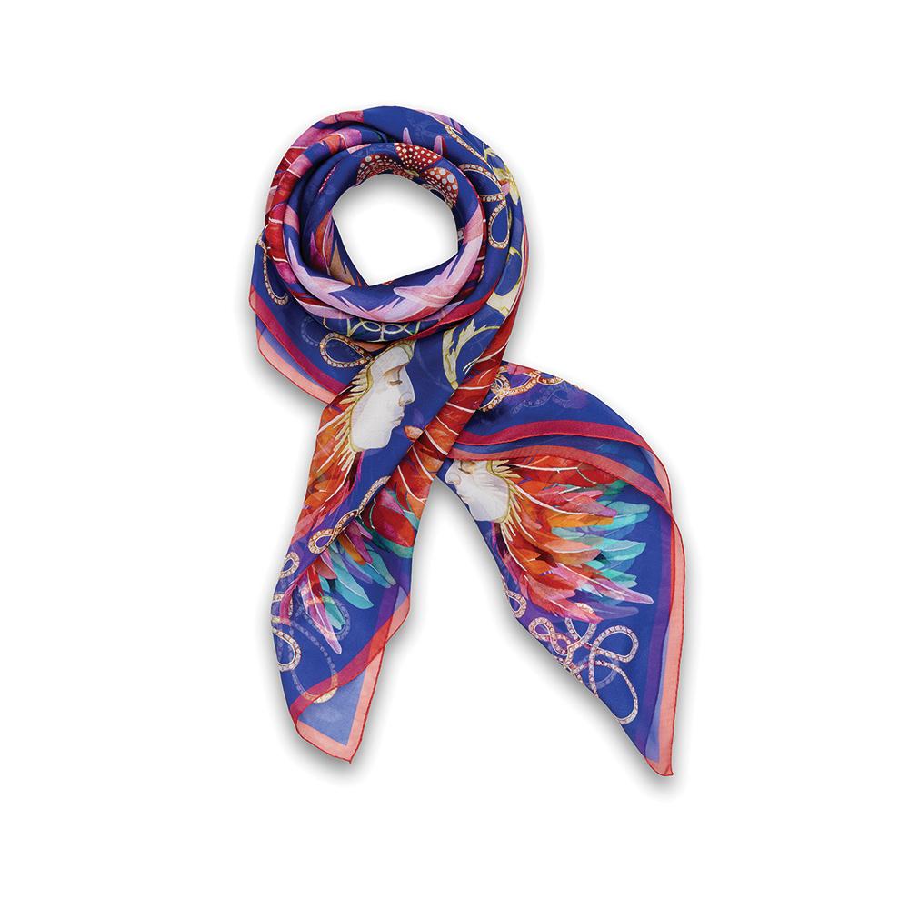 Imperial feathers scarf | Silk mousseline, 140x140 cm, royal blue color | Lalique