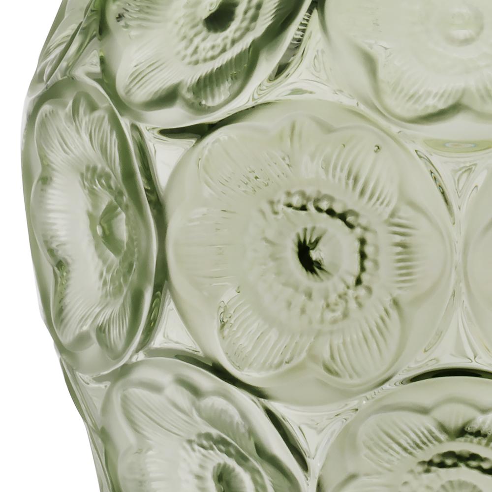 Anemones vase | Green crystal | Lalique crystal vase