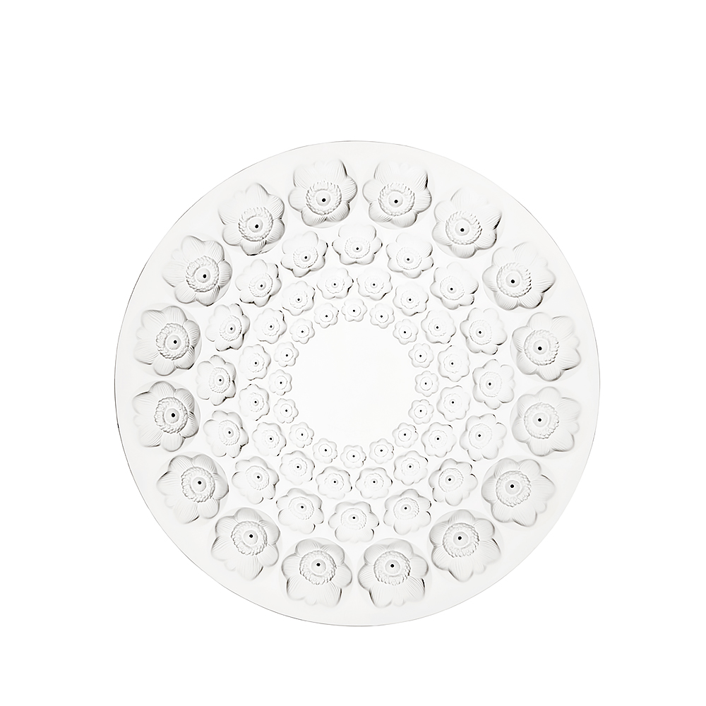 Anemones bowl | Clear crystal and black enamelled | Lalique crystal bowl