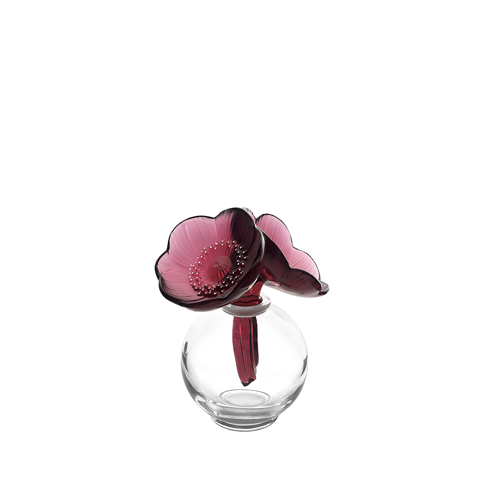 2 Anemones perfume bottle | Clear crystal, red crystal and white enamelled | Perfume bottle Lalique