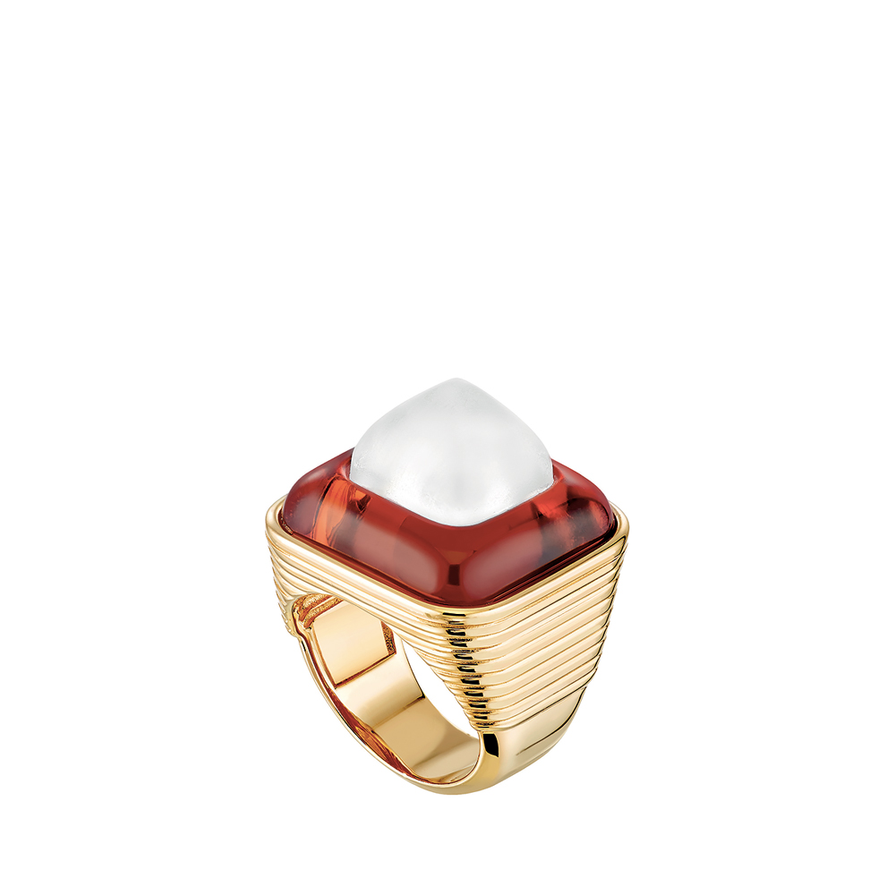 Charmante ring | Clear and amber square crystal on vermeil | Costume jewellery Lalique