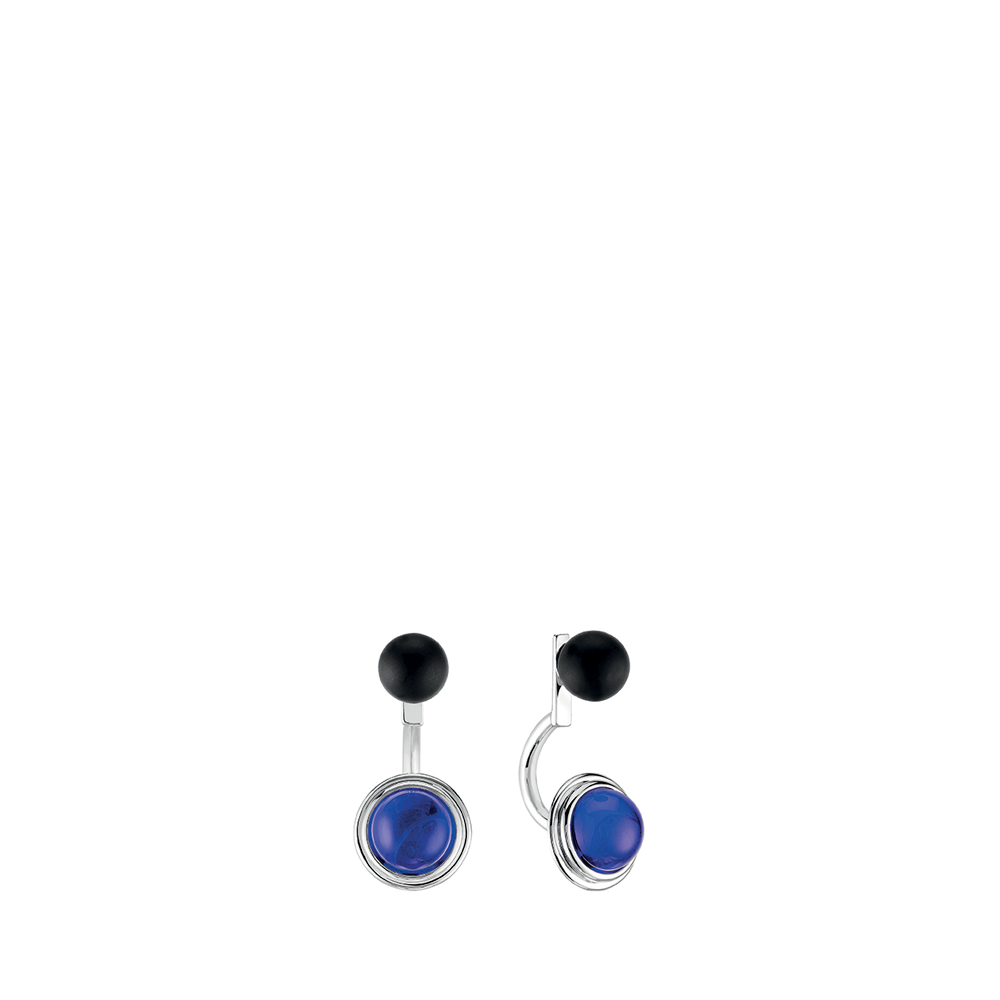 Charmante earrings | Blue Cap-Ferrat and black crystal, silver | Costume jewellery Lalique