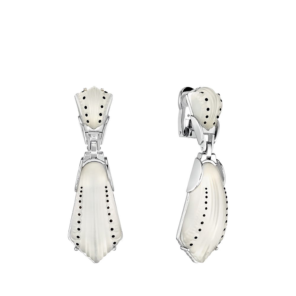 Icône earrings | Clear crystal, silver | Costume jewellery Lalique