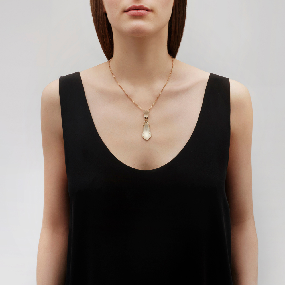 Icône pendant | Clear crystal, vermeil | Costume jewellery Lalique