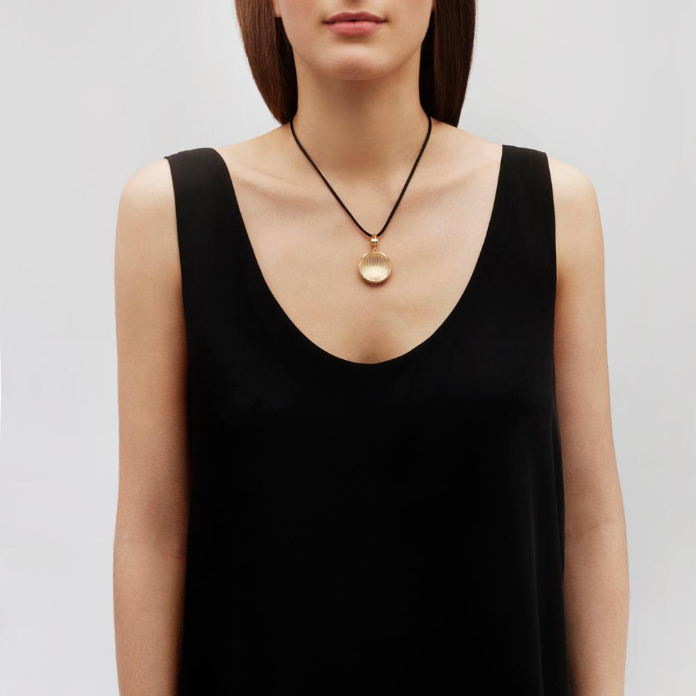 Vibrante pendant | Clear crystal, vermeil | Costume jewellery Lalique