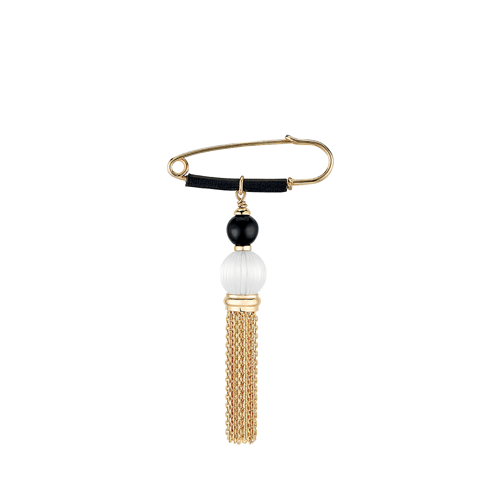 Vibrante brooch | Clear and black crystal, leather, vermeil | Costume jewellery Lalique