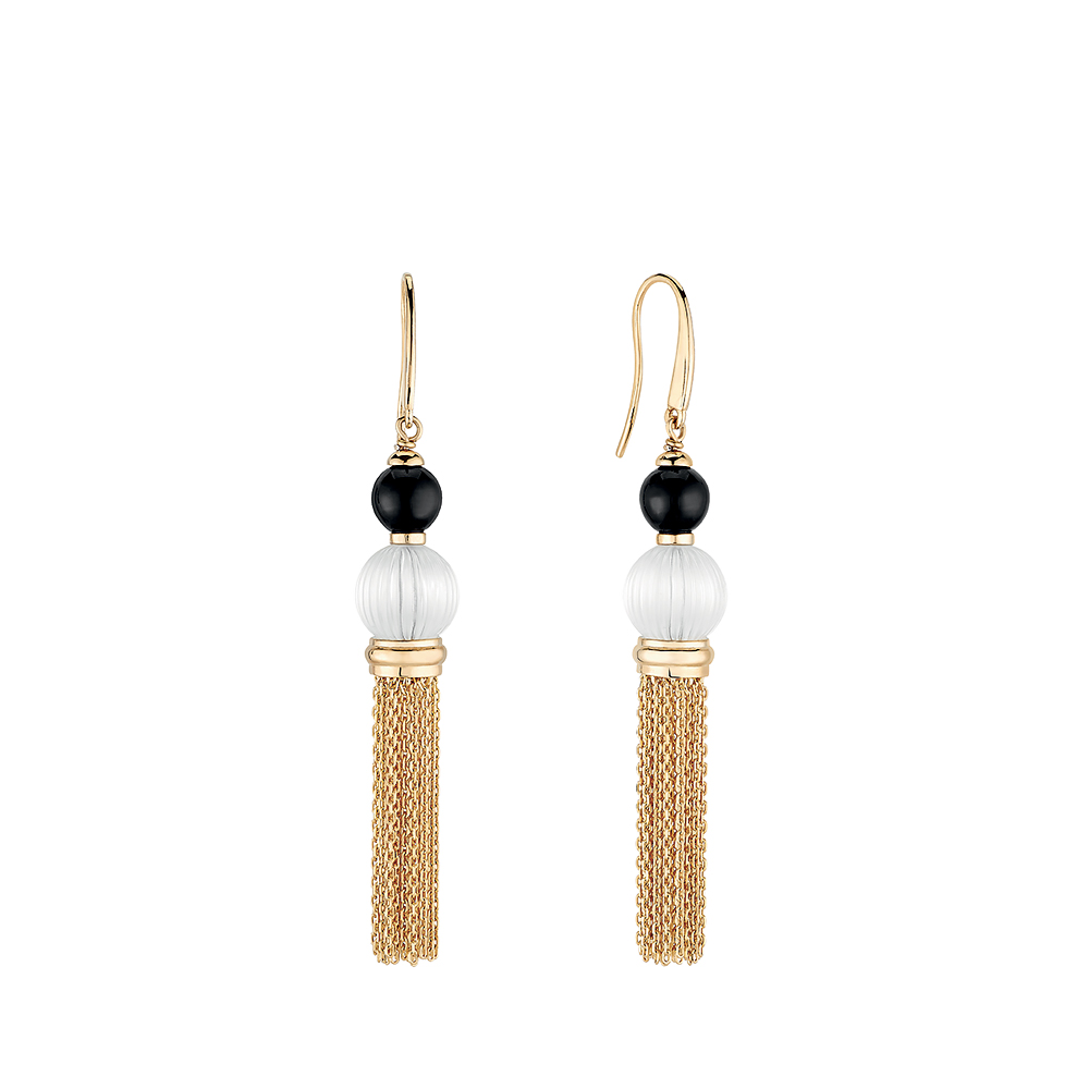 Vibrante earrings | Clear and black crystal, vermeil | Costume jewellery Lalique