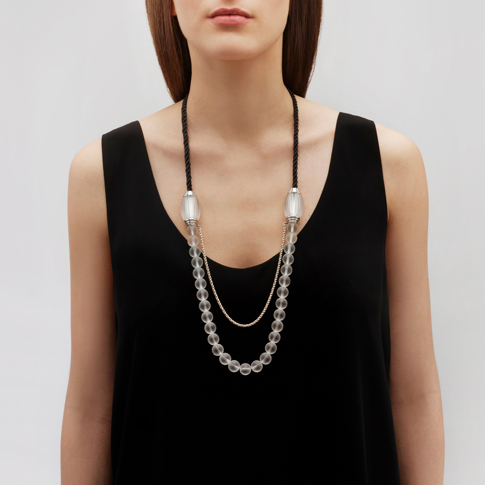 Vibrante long necklace | Clear crystal, clear glass beads, black cord, silver | Costume jewellery Lalique