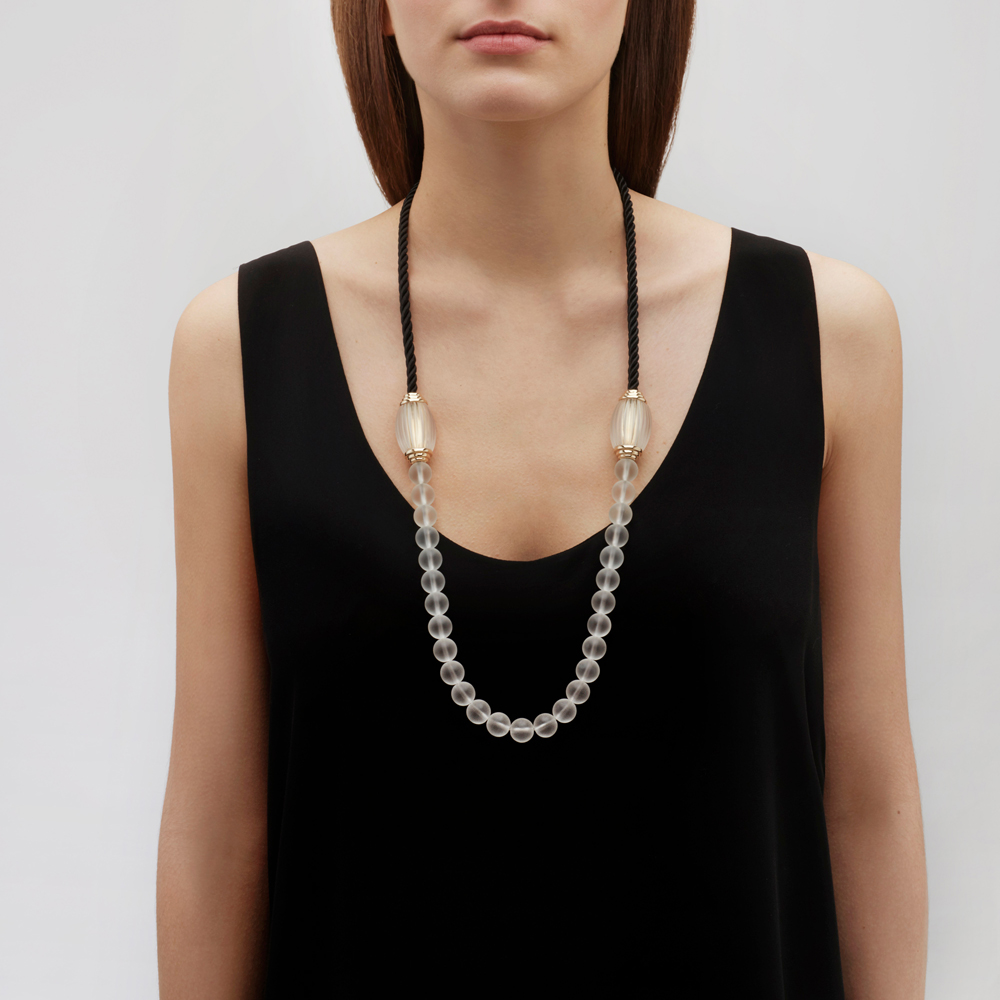 Vibrante long necklace | Clear crystal, clear glass beads, black cord, vermeil | Costume jewellery Lalique