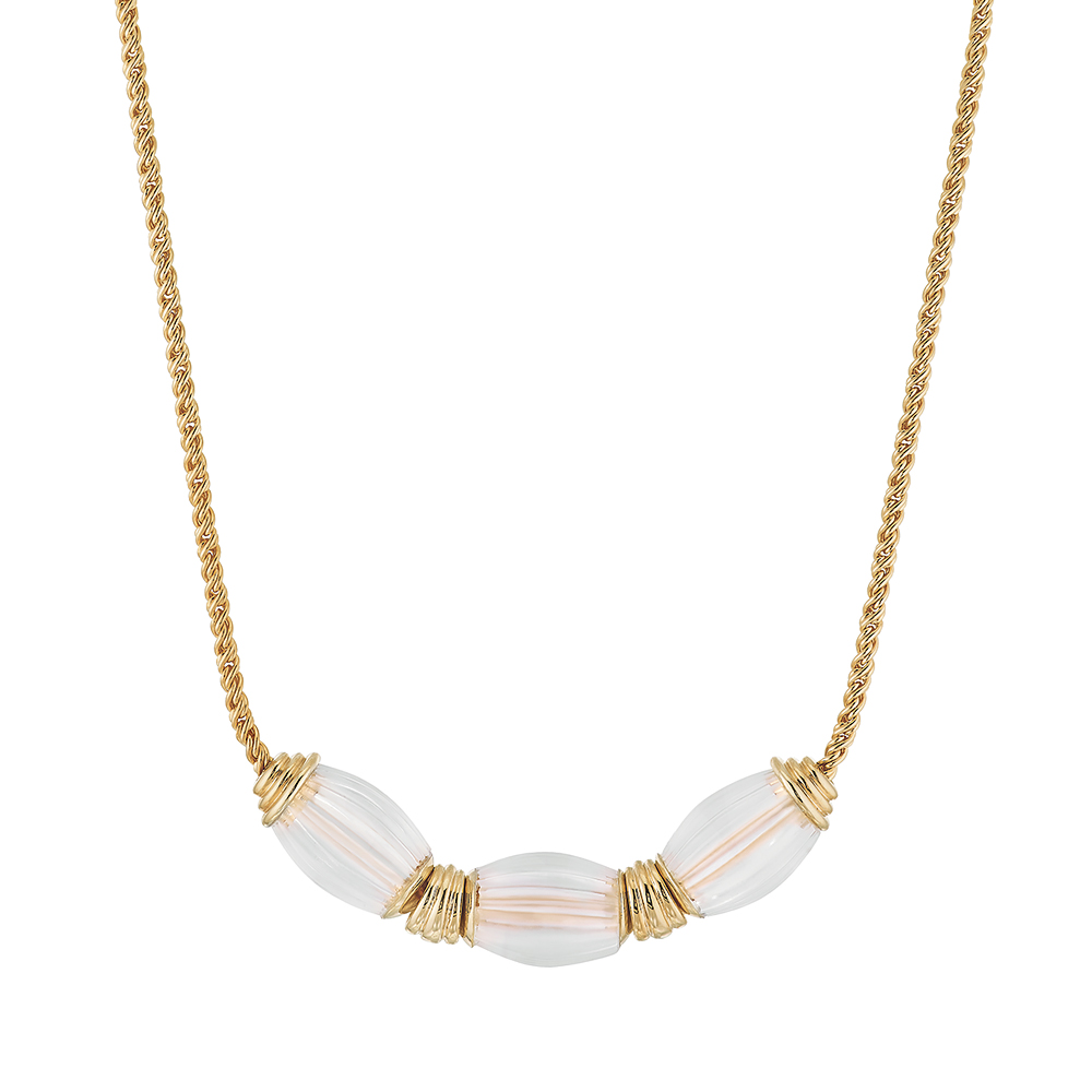 Vibrante necklace | Clear crystal, vermeil | Costume jewellery Lalique