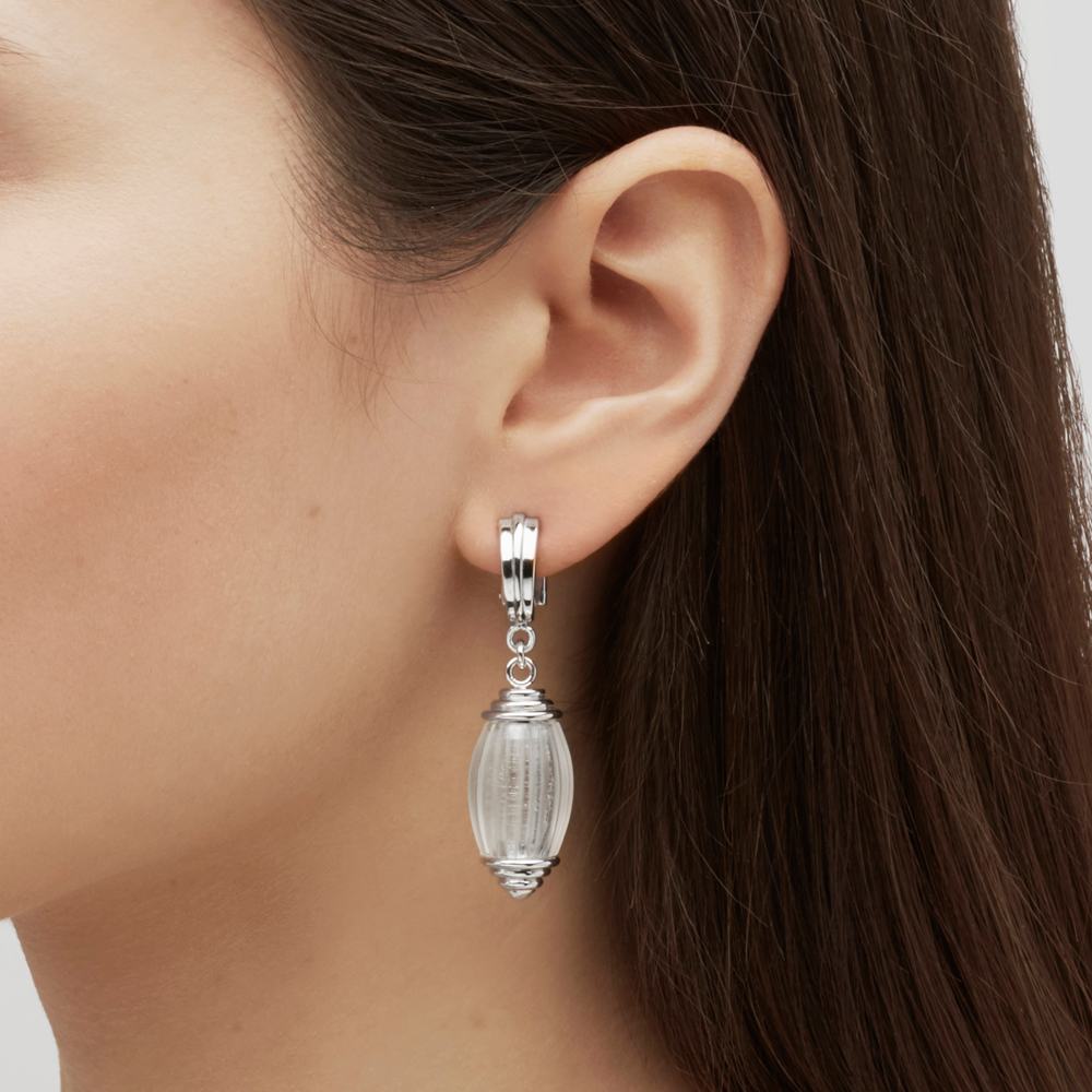 Vibrante earrings | Clear crystal, silver | Costume jewellery Lalique