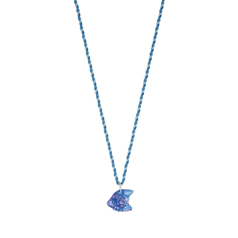 Poisson pendant | Blue Cap-Ferrat crystal, silver | Costume jewellery Lalique