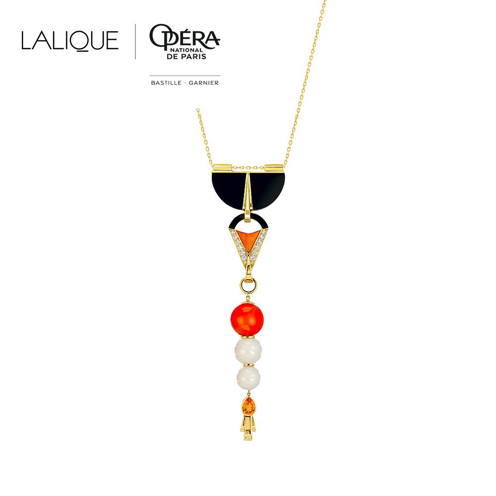 L'Oiseau de Feu pendant | Diamonds, engraved white Jades, orange sapphires, black jade, cornalines, yellow gold | Lalique fine jewellery
