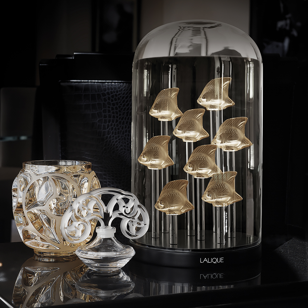 Tourbillons vase | Gold luster crystal satin-finished, small size | Vase Lalique
