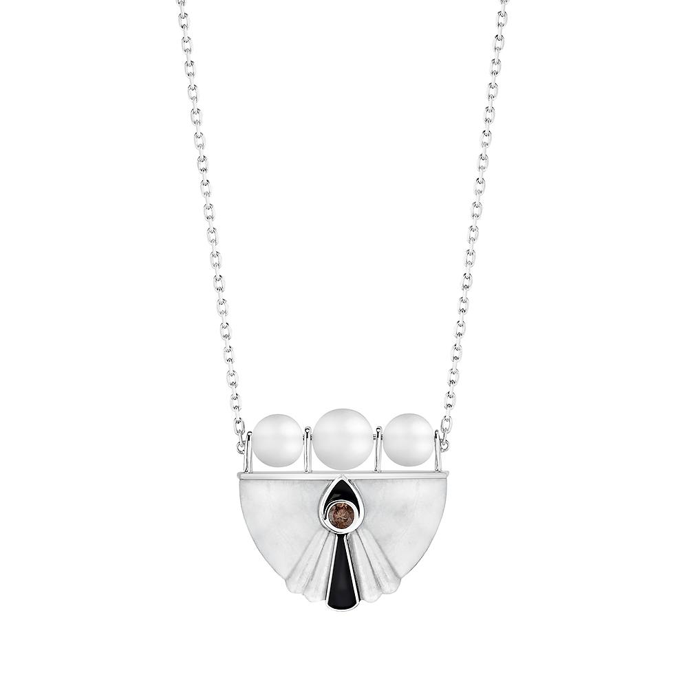 L'Oiseau Moqueur Collier | Smoky quartz, marbe, clear crystal, white gold | Lalique fine jewellery