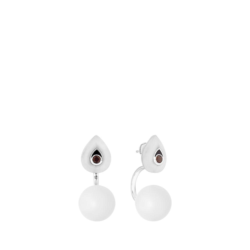 L'Oiseau Moqueur Ear jacket | Smoky quartz, marbe, clear crystal, white gold | Lalique fine jewellery