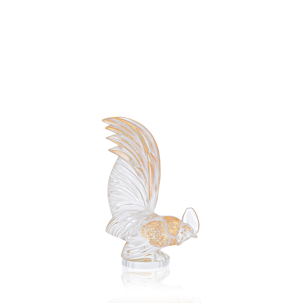 Bantam rooster sculpture | Clear crystal and gold stamped | Sculpture Lalique