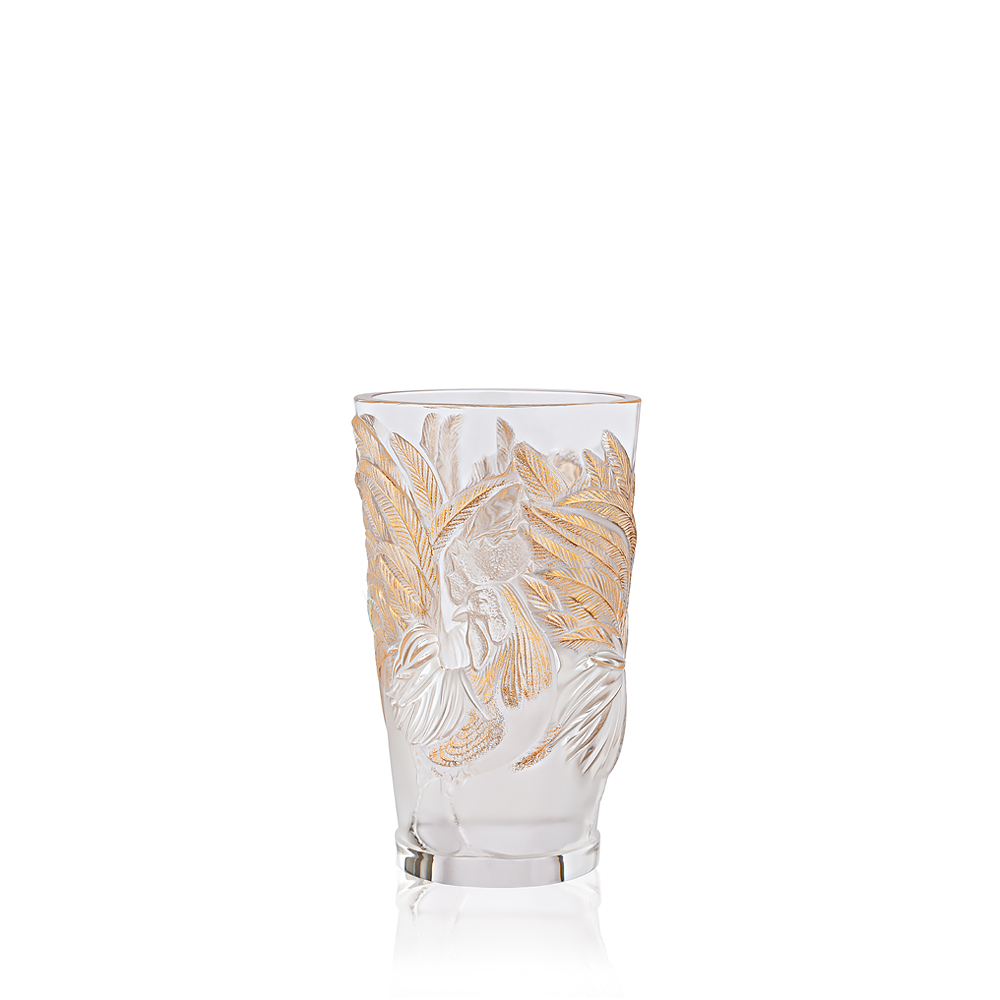 Rooster vase | Limited edition (888 pieces), clear crystal and gold stamped | Lalique crystal vase