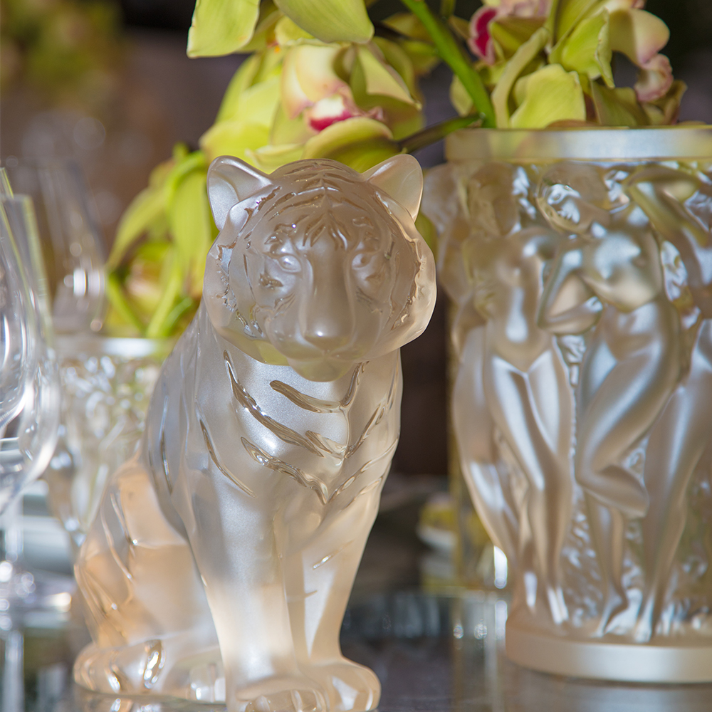 Sitting Tiger | Gold luster crystal| Sculpture Lalique