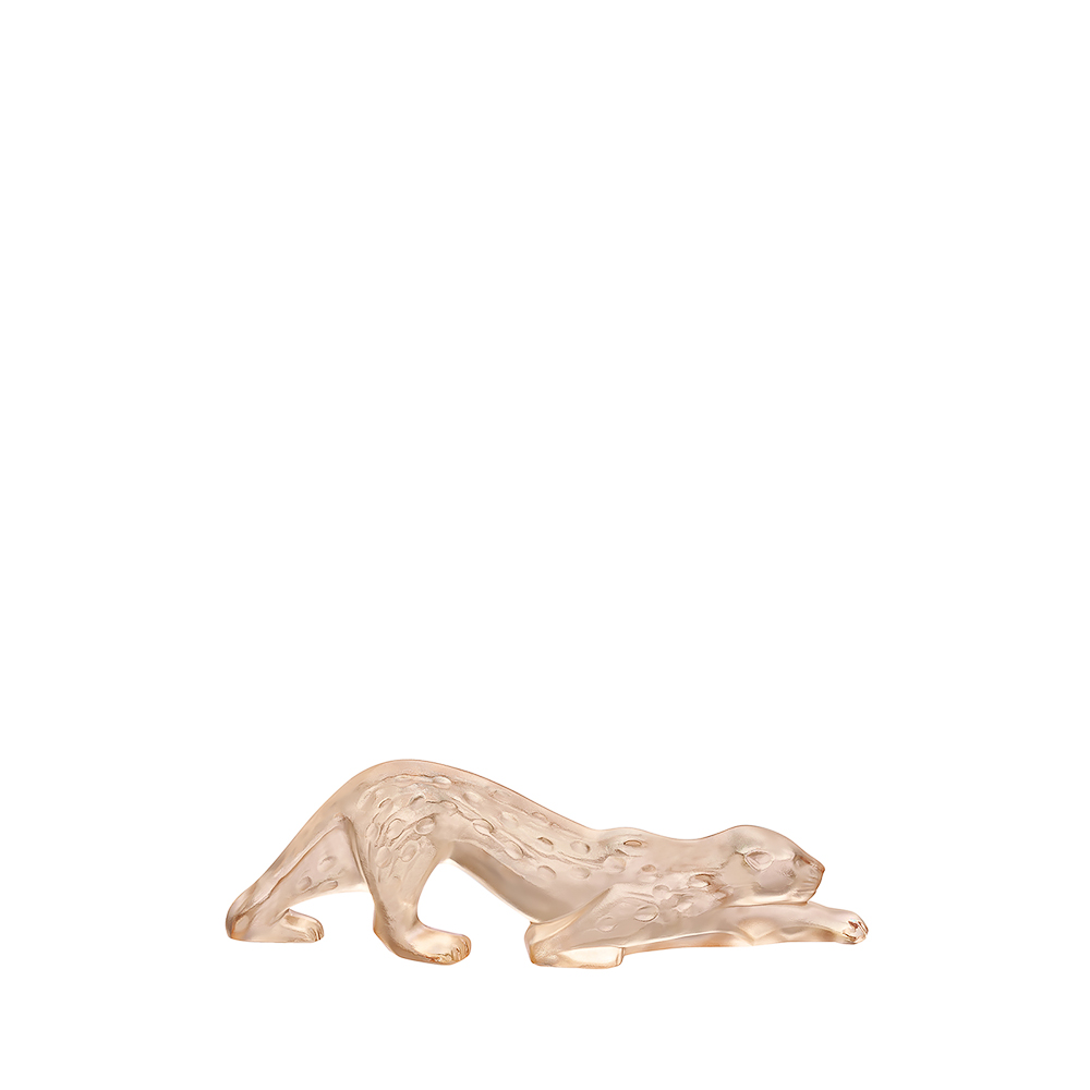 Zeila Panther sculpture | Gold luster crystal, small size | Sculpture Lalique