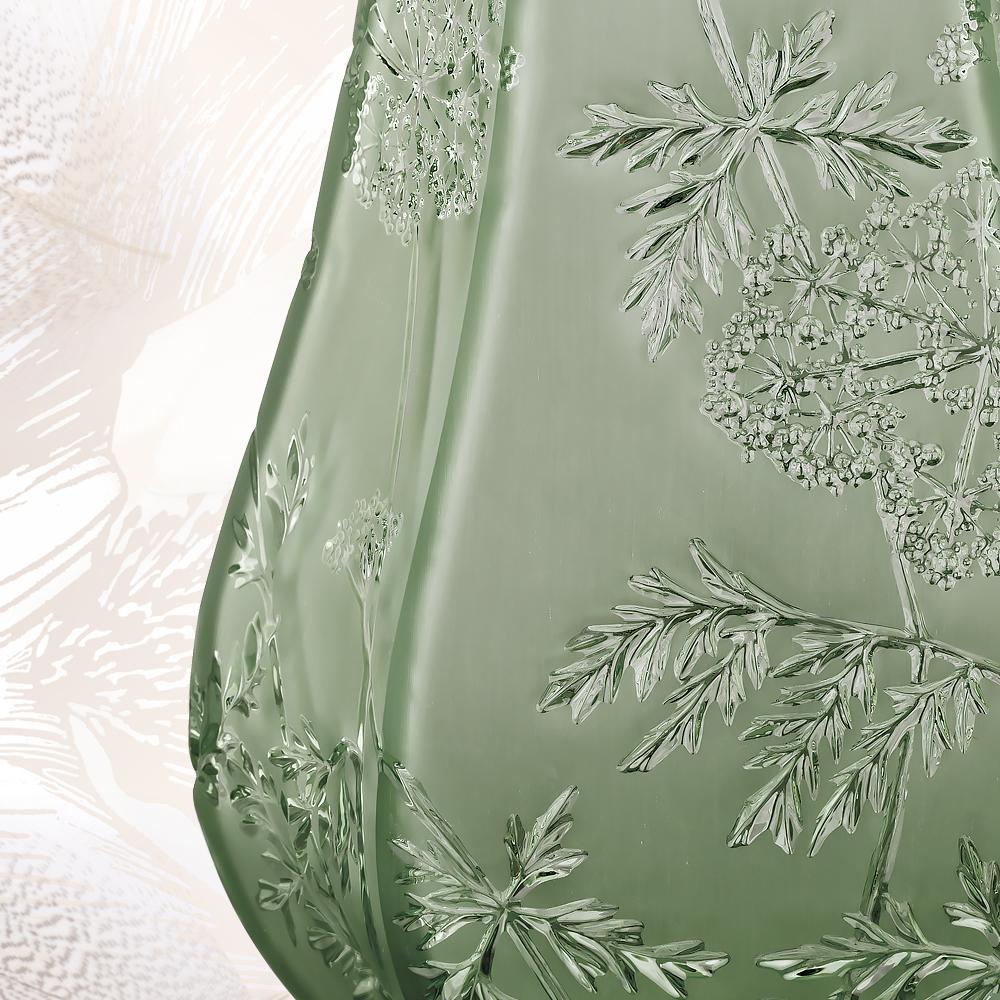 Ombelles vase | Green crystal, large size | Vase Lalique