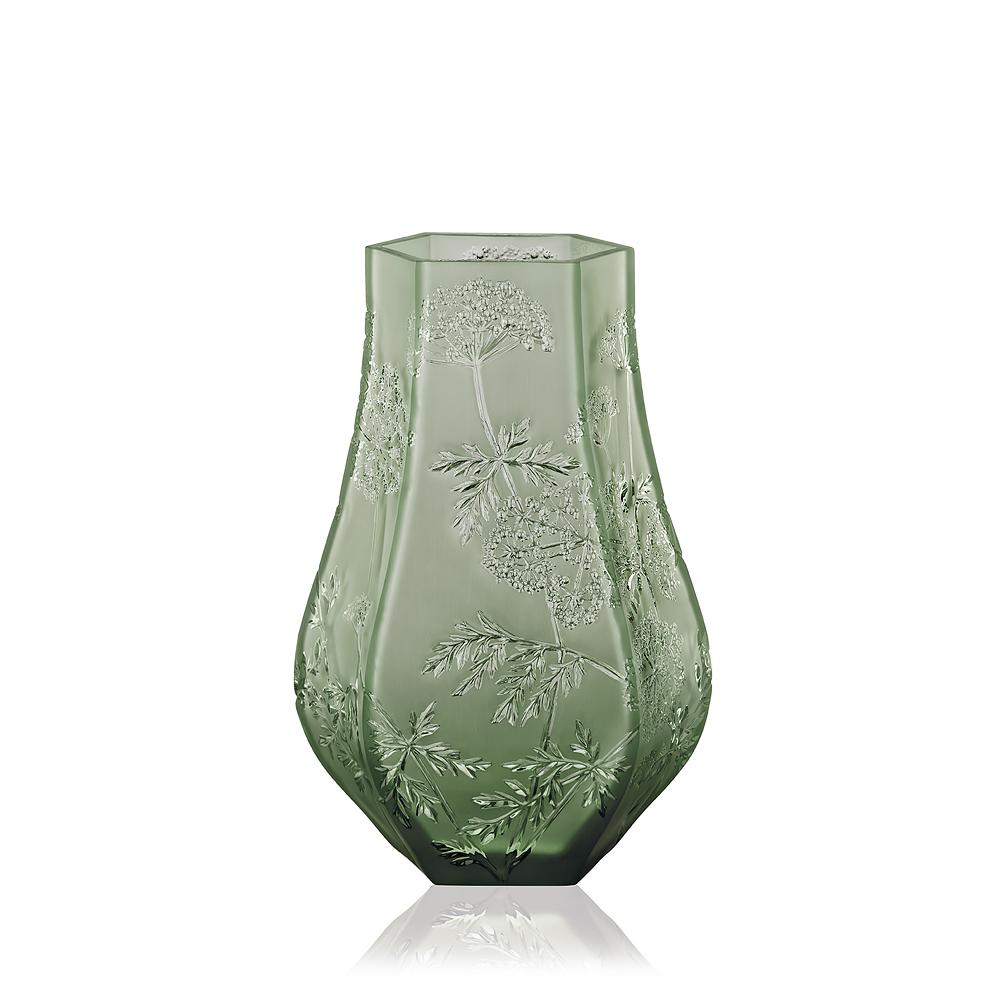 Ombelles vase green crystal large size vase lalique for Homeware accessories