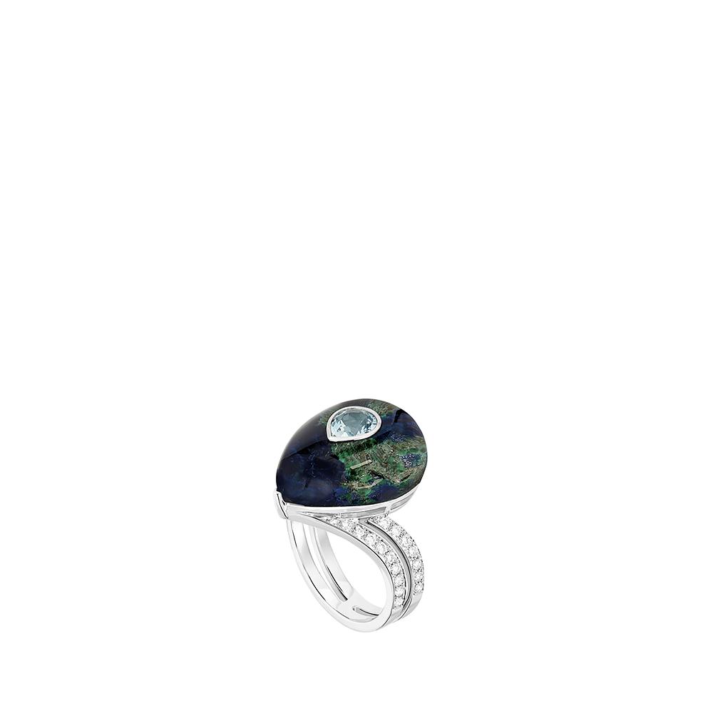 L'Oiseau Tonnerre ring | Aquamarine, diamonds, azurite-malachite, rock-crystal, white gold | Lalique fine jewellery
