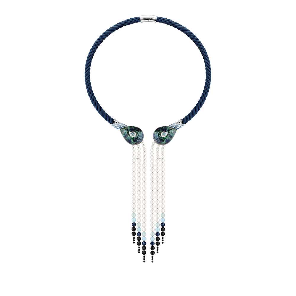 L'Oiseau Tonnerre necklace | Aquamarines, diamonds, azurite-malachite, white gold | Lalique fine jewellery