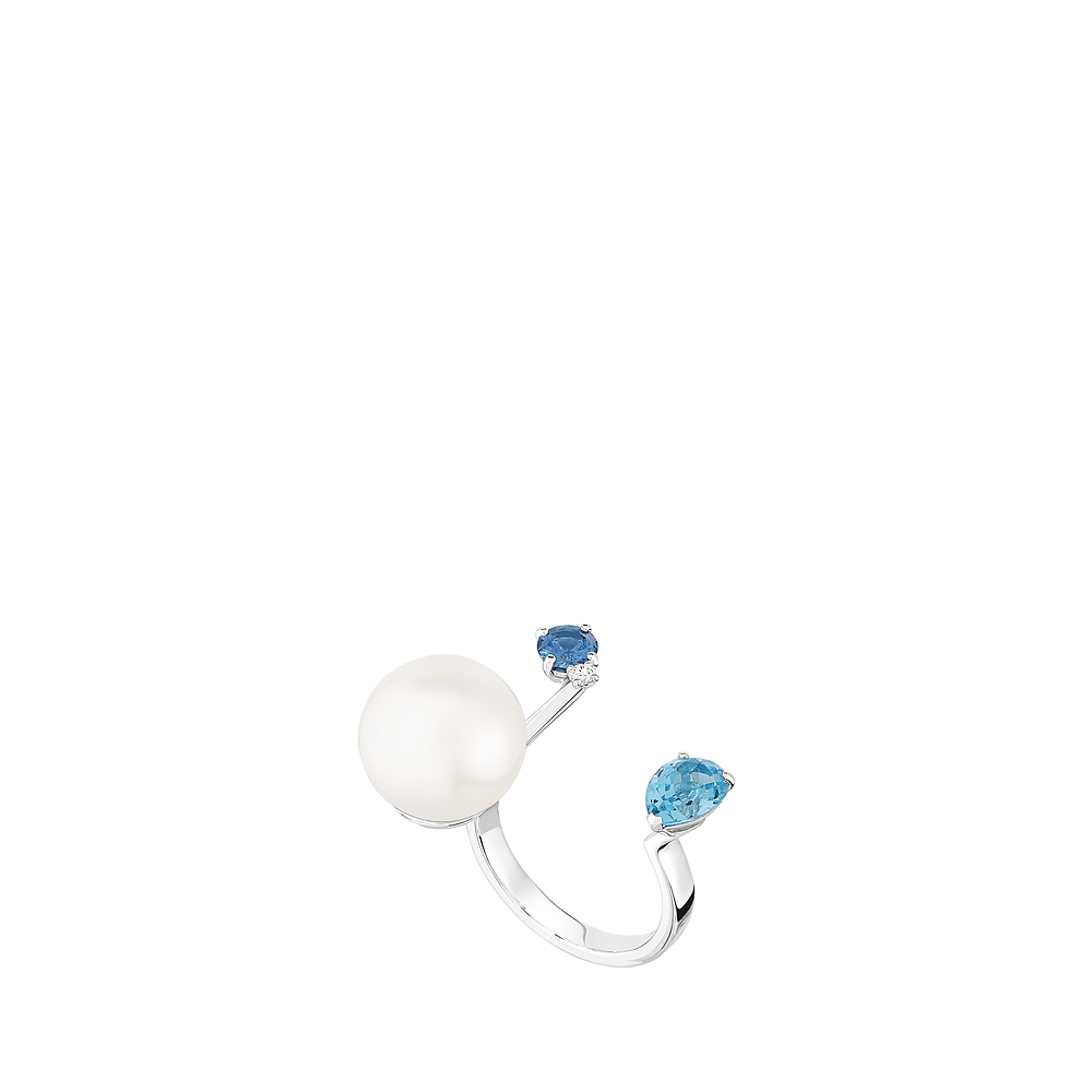 L'Oiseau Tonnerre double ring | Blue London topaz, sapphire, diamond, freshwater cultured pearl, white gold | Lalique