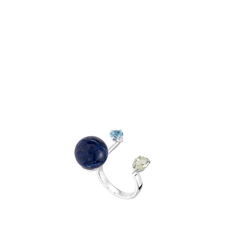L'Oiseau Tonnerre double ring | Blue London topaz, green quartz, diamond, lapis lazuli, white gold | Lalique