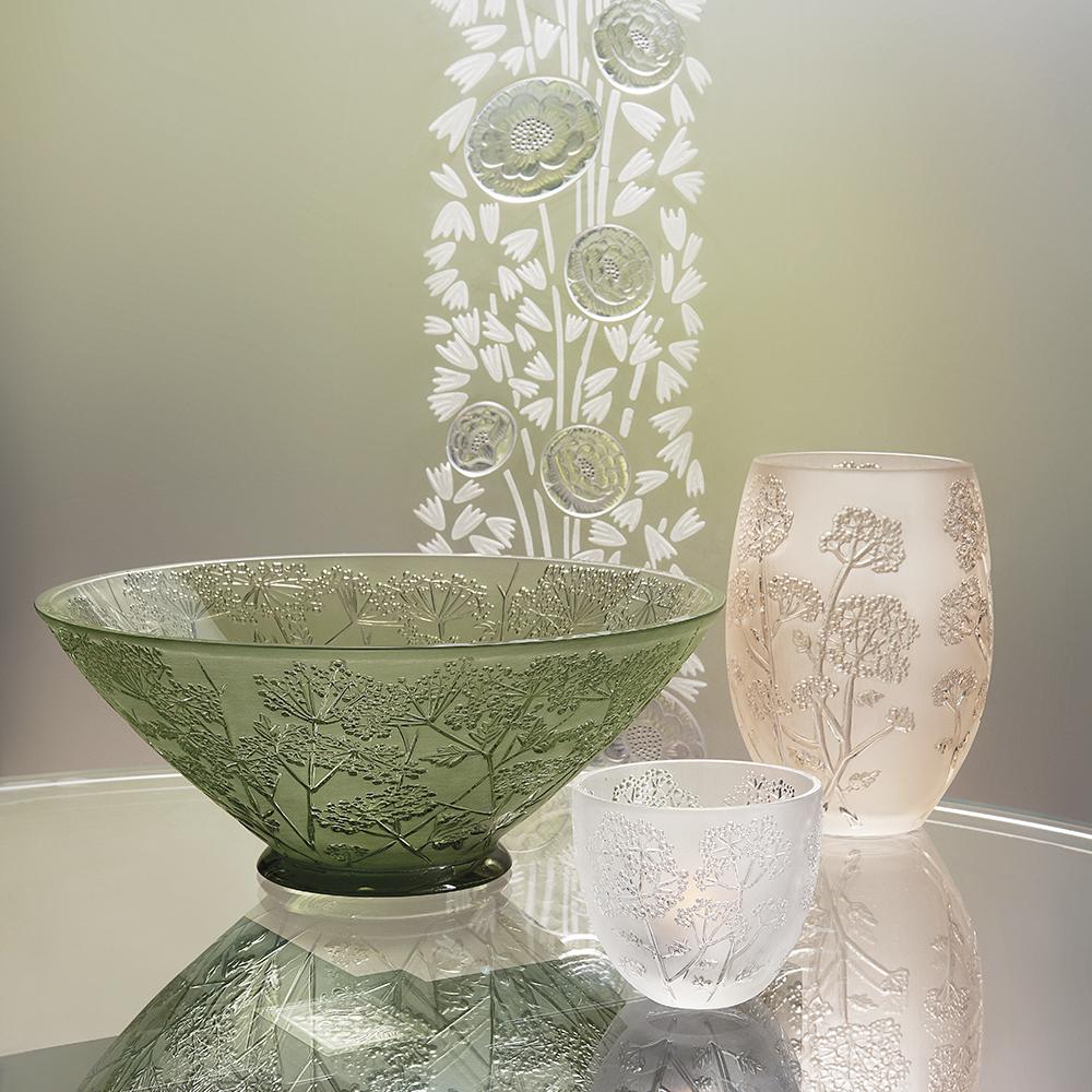 Ombelles bowl   Green crystal   Bowl Lalique