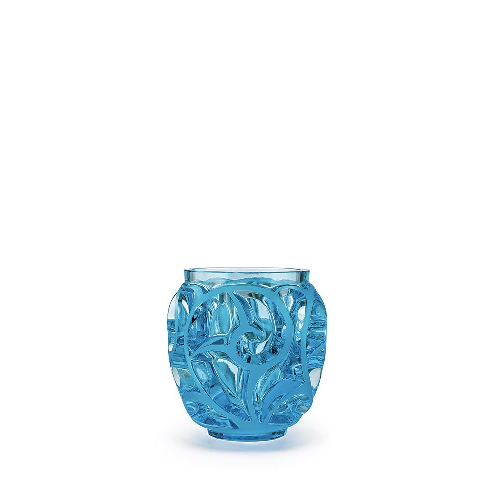 Tourbillons vase   Light blue crystal, small size   Vase Lalique