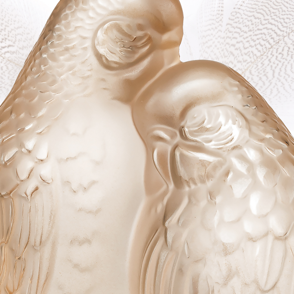 2 Parakeets sculpture | Gold luster crystal | Sculpture Lalique