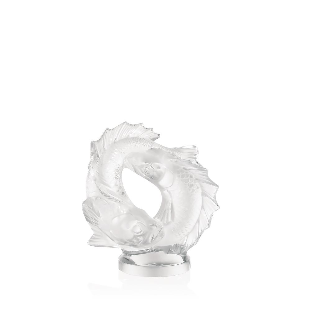 Double Fish sculpture | Clear crystal, medium size | Sculpture Lalique