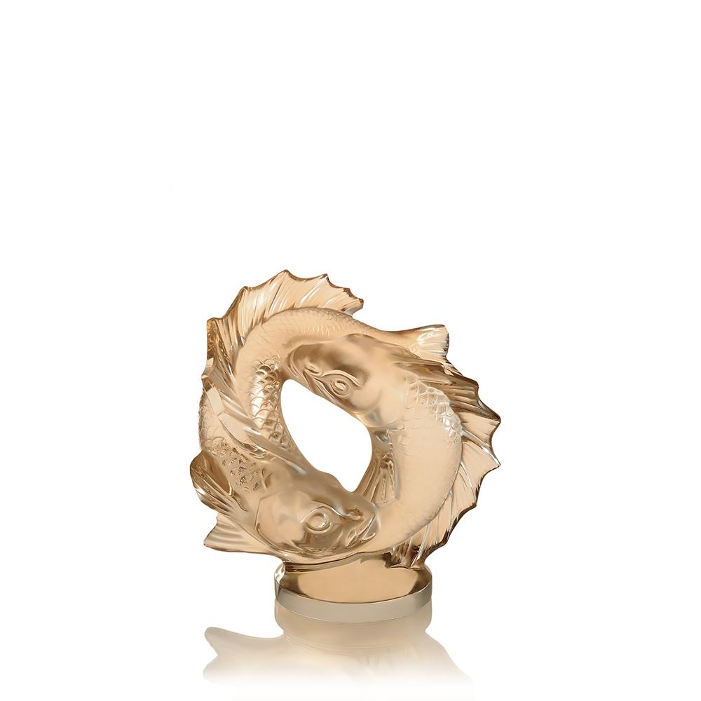 Double Fish sculpture | Gold luster crystal, medium size | Sculpture Lalique