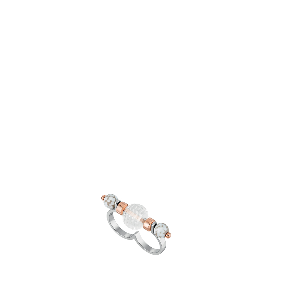 1928 Double ring | Clear crystal and marble glass, plated in 18K pink gold and silver | Lalique exclusive collection