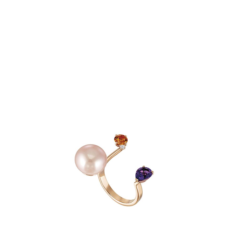 L'Oiseau Tonnerre double ring   Orange Sapphire, Amethyst, Diamond, Pink pearl, Pink Gold   Lalique fine jewellery