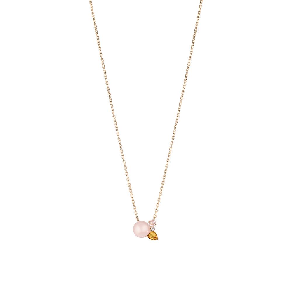 L'Oiseau Tonnerre necklace   Pink Quartz, Citrine, Diamond, Pink Agate, Pink Gold   Lalique fine jewellery