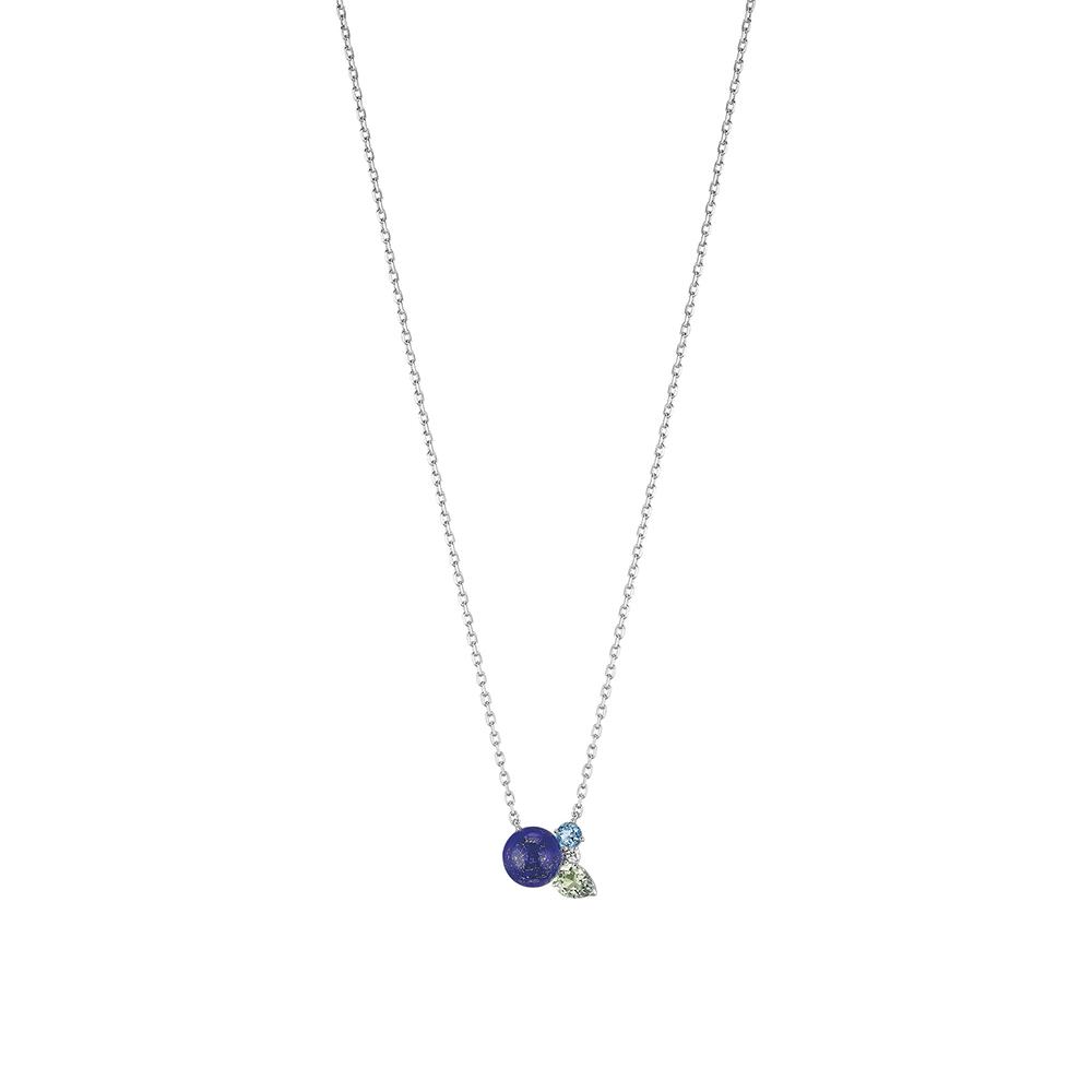L'Oiseau Tonnerre necklace | Blue London topaz, green quartz, diamond, lapis lazuli, white gold | Lalique fine jewellery