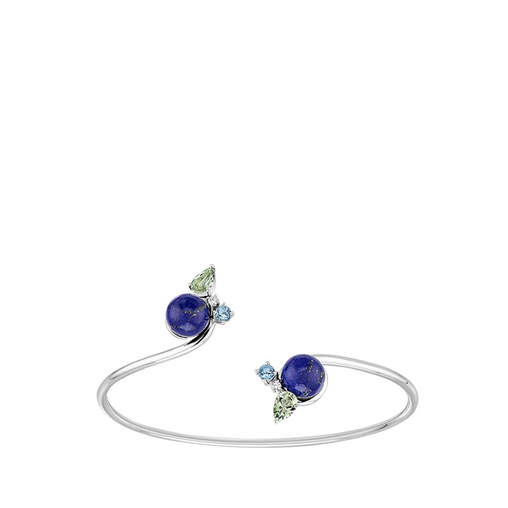 L'Oiseau Tonnerre bracelet   Blue London topaz, green quartz, diamond, lapis lazuli, white gold   Lalique fine jewellery