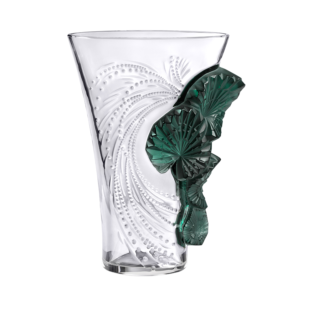 Palme vase | Clear and deep green crystal | Vase Lalique