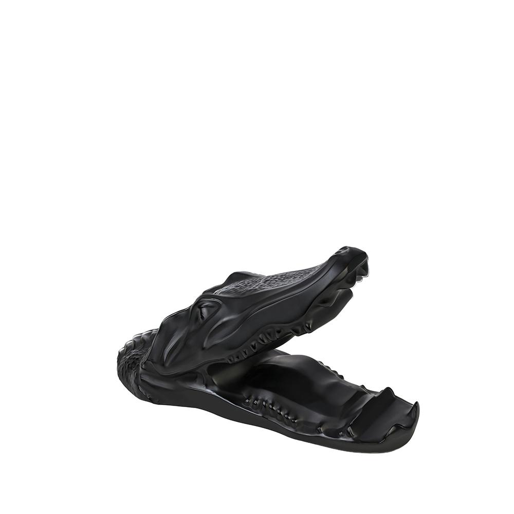Crocodile smartphone or tablet holder sculpture | Black crystal | Sculpture Lalique