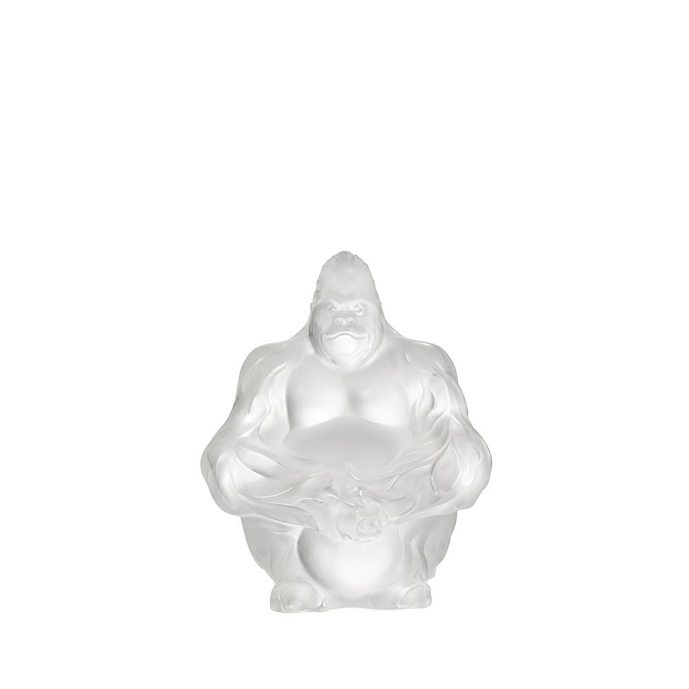 Gorilla sculpture | Clear crystal | Sculpture Lalique